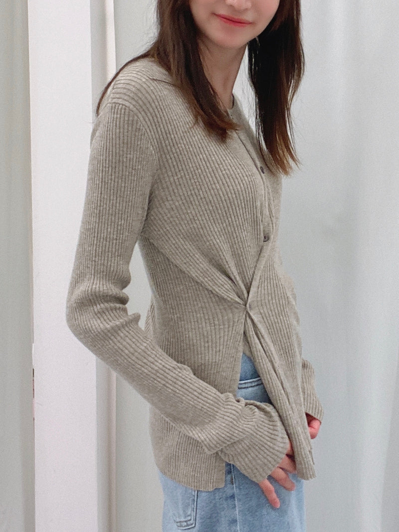 Ribbed Knit Asymmetrical Button Up Sweater
