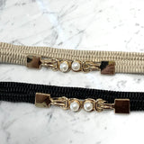 Two Pearls with Knots Thin Elastic Belt
