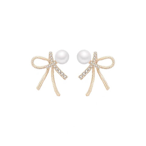 Rhinestone Bow and Pearl Earrings