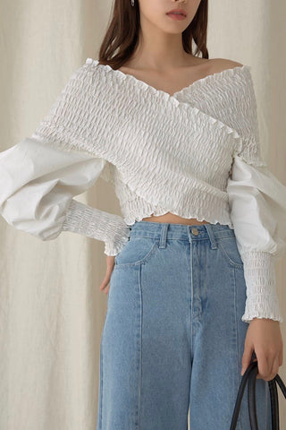 Smock Front Cross Crop Top