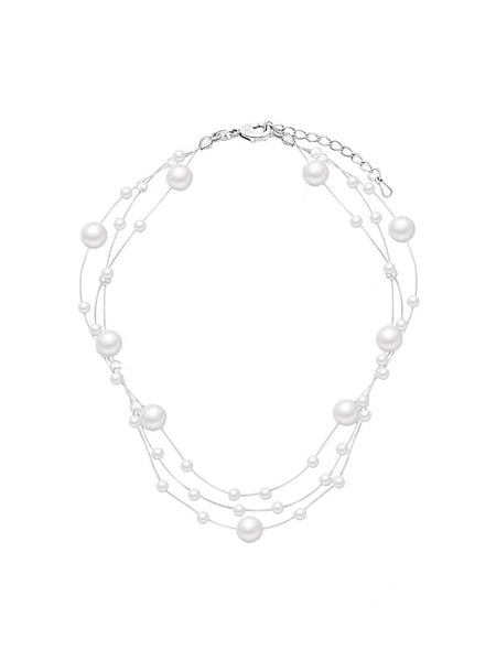 Three-layered Pearls Choker