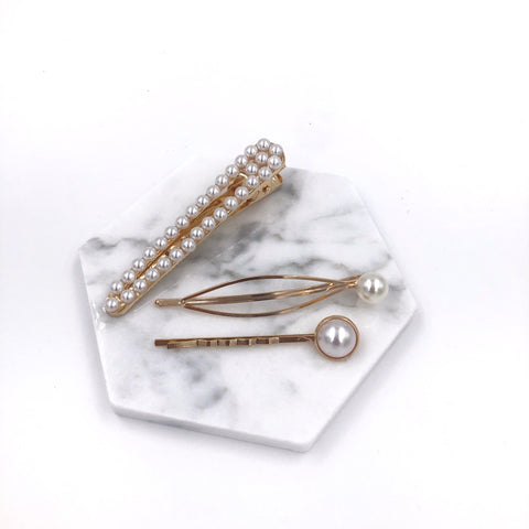Three Pearl Hair Clips Set