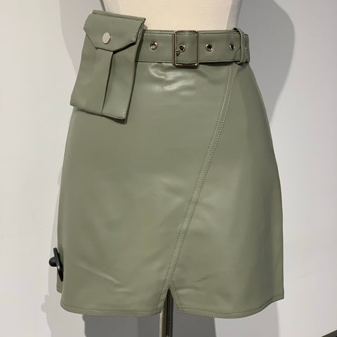 Leather Mini Skirt with Waist Bag