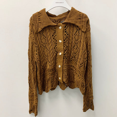 Big Lapel Button Up Knit Cardigan