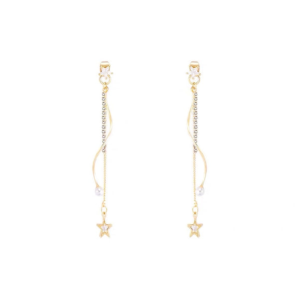Curly Bar with Star Tassel Long Earrings