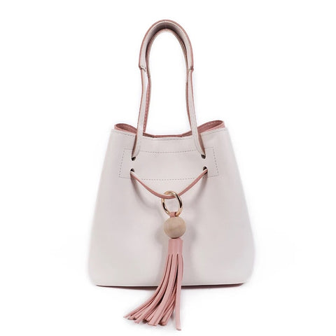 Contrasting Color Bucket Bag with Pouch