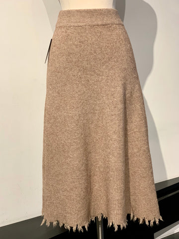 Fray Hem Knit Maxi Skirt