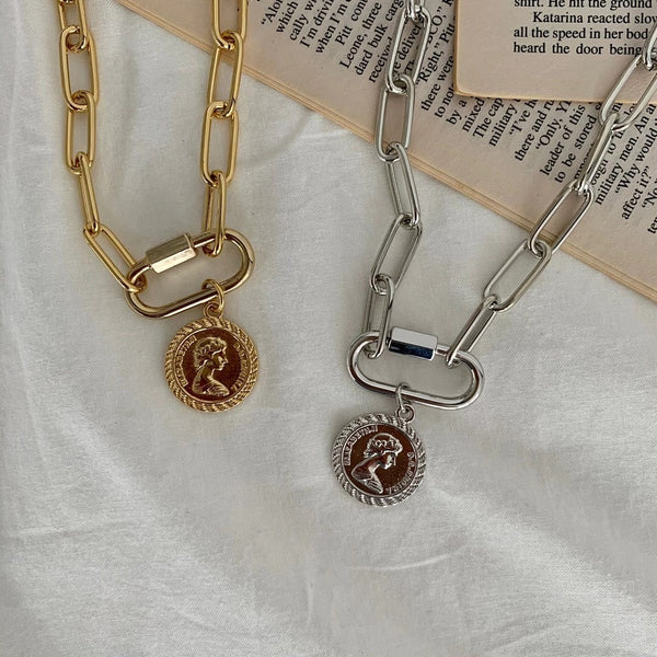 Big Chain and Coin Pendant Necklace