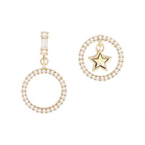 Asymmetrical Pearl Circle with Star Earrings