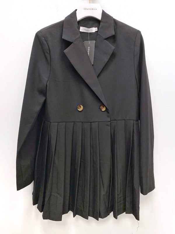 Pleated Double-breasted Blazer Dress