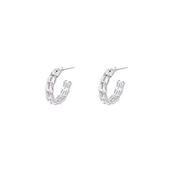 Two-layered Rhinestone Hoop Earrings