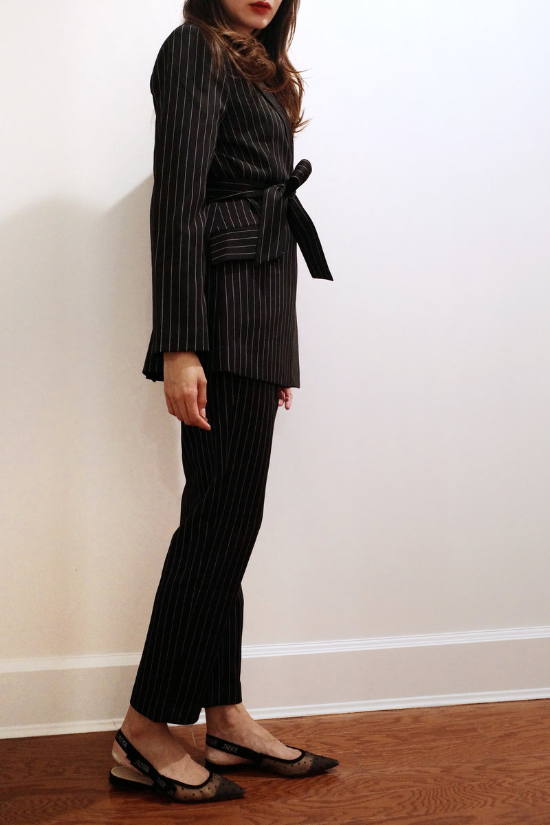 High-waisted Stripe Chiffon Slim Leg Pants
