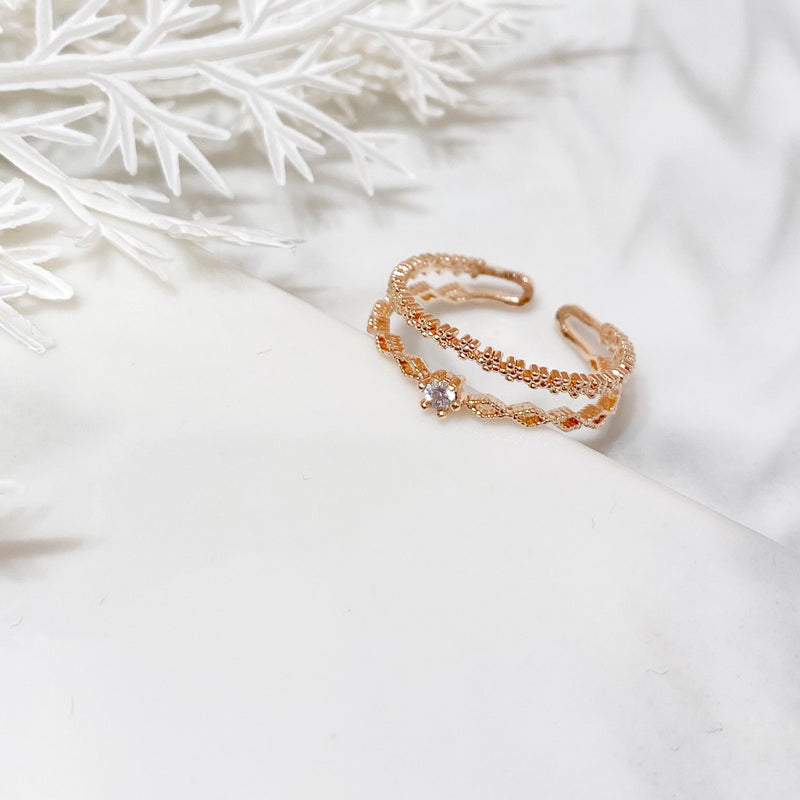 Two-layered Twist with Single Rhinestone Ring
