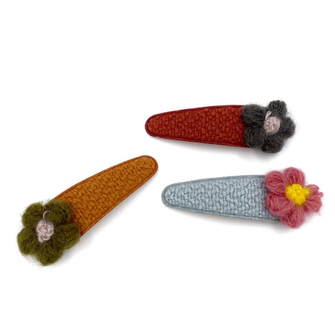 Knit Flower Hair Clip