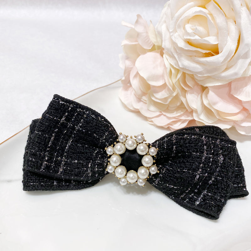 Pearl and Tweed Bow Hair Clip