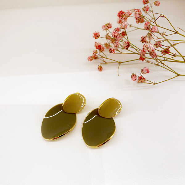 Two-colored Metal Ovals Earrings