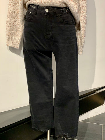 Straight Leg Jeans with Zipper Around Waist