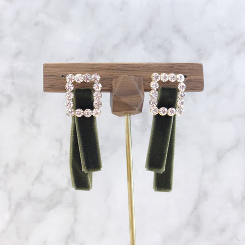 Rhinestone Square with Velvet Ribbon Earrings