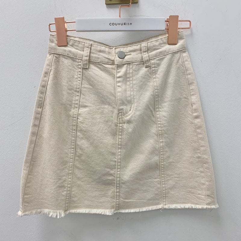 High-waisted Front Seams Fray Hem Denim Mini Skirt