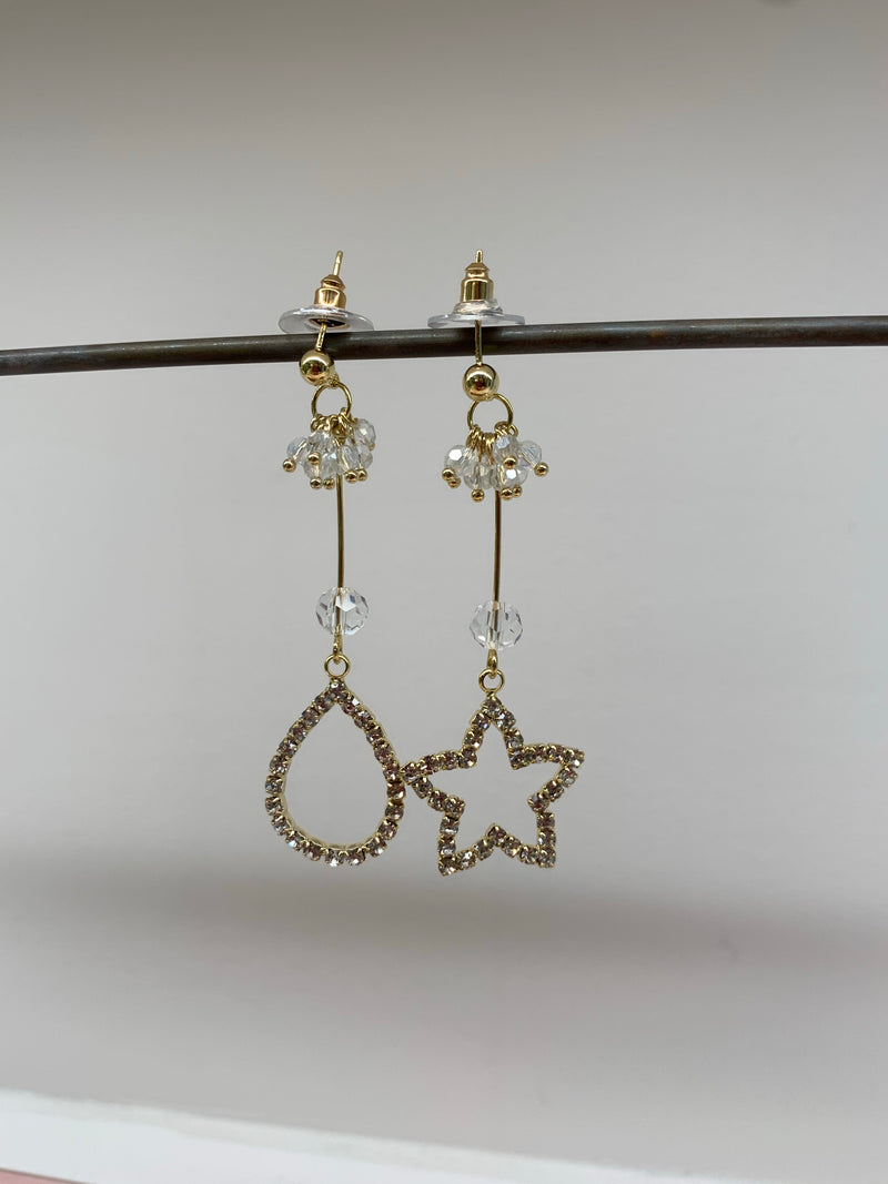 Asymmetrical Pearls and Rhinestone Pendants Earrings