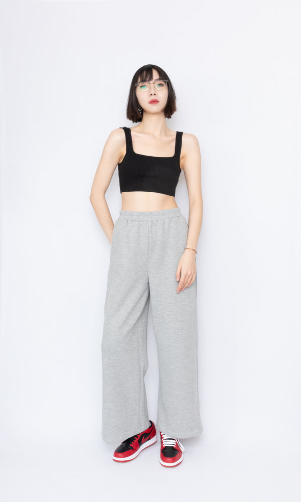 Wide Leg Sweatpants with Side Slits