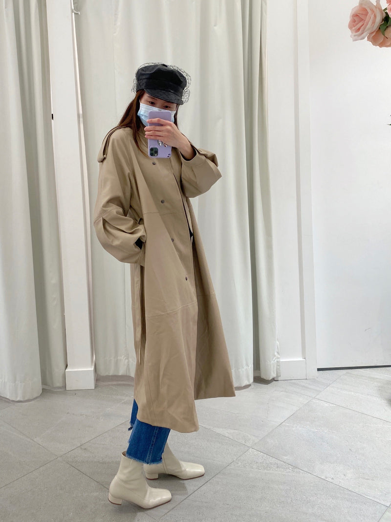Oversized Leather Long Trench Jacket