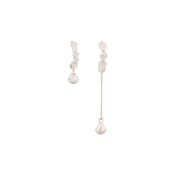 Asymmetrical Crystal Beads Hood Earrings