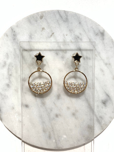 Half Rhinestone Round with Star Earrings