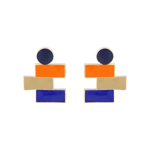 Color Block Geometrical Shapes Earrings