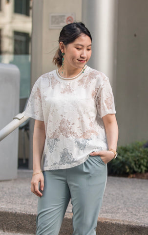 Lace T-shirt with Contrasting Neckline