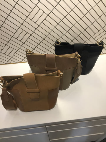 Front Strap Closure Bucket Bag