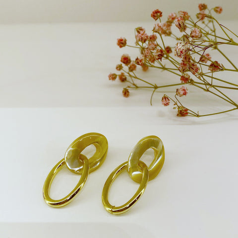 Acrylic and Metal Ovals Earrings