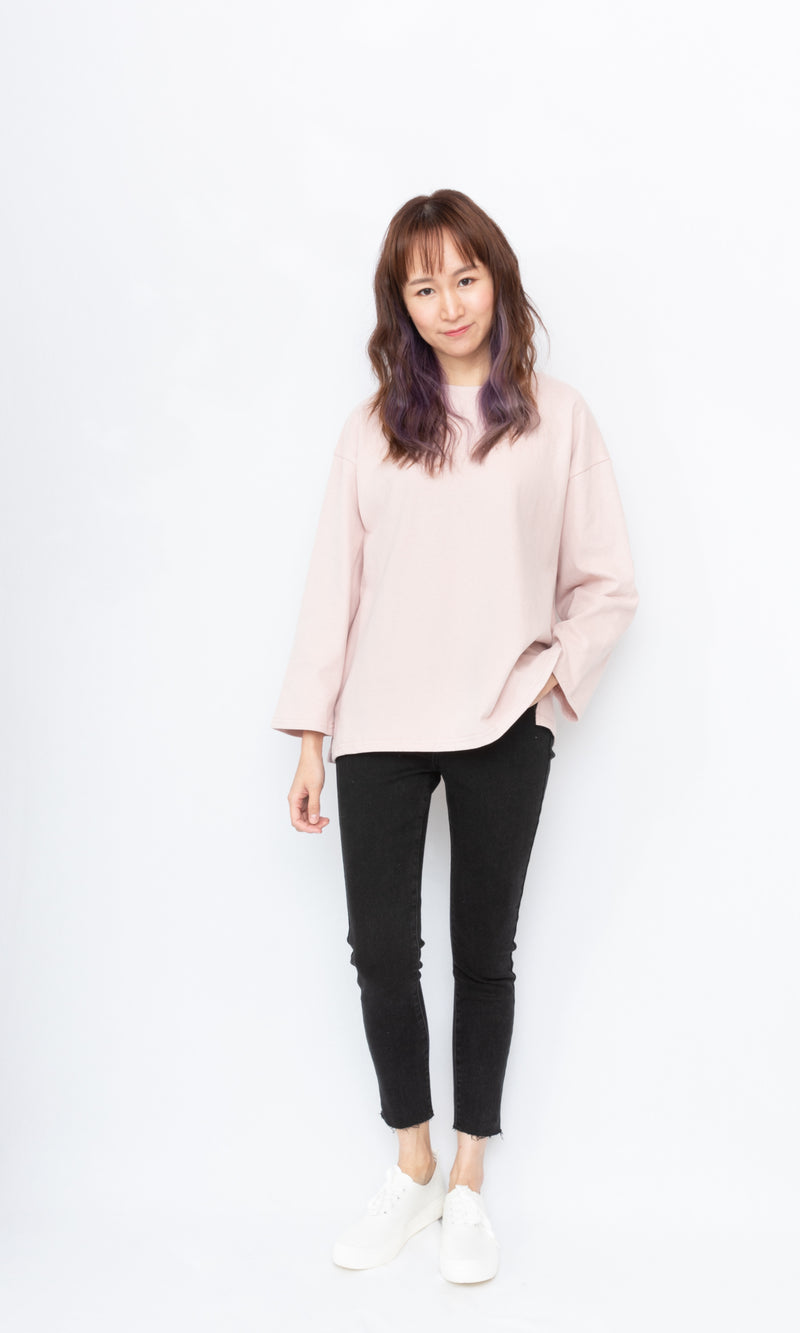 Oversized Solid Color Long-sleeves Top