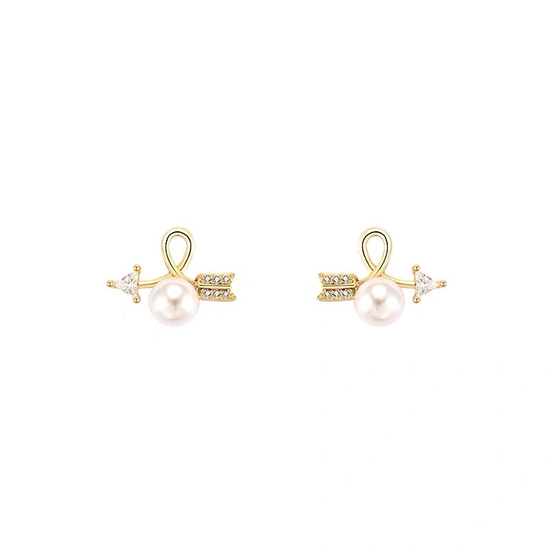 Rhinestone Arrow and Pearl Earrings
