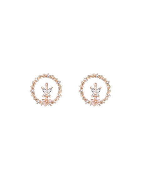 Rhinestone Circle and Butterfly Earrings