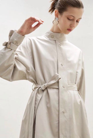 High Neck Single Breasted Trench Coat