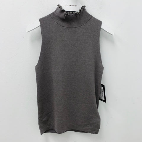 Curly Edge Funnel Neck Knit Tank