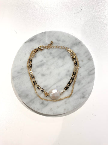 Two-layered Chains with Single Pearl Bracelet