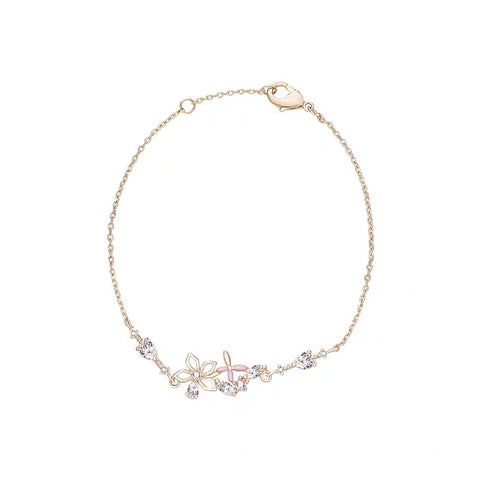 Pink Flower and Rhinestone Bracelet