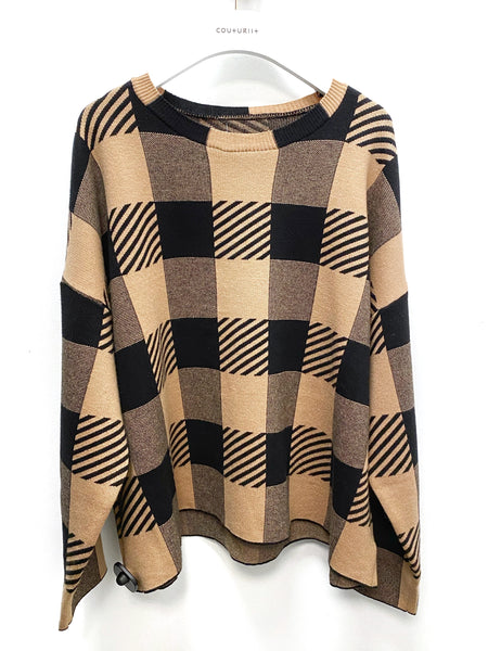 Oversized Checker Sweater