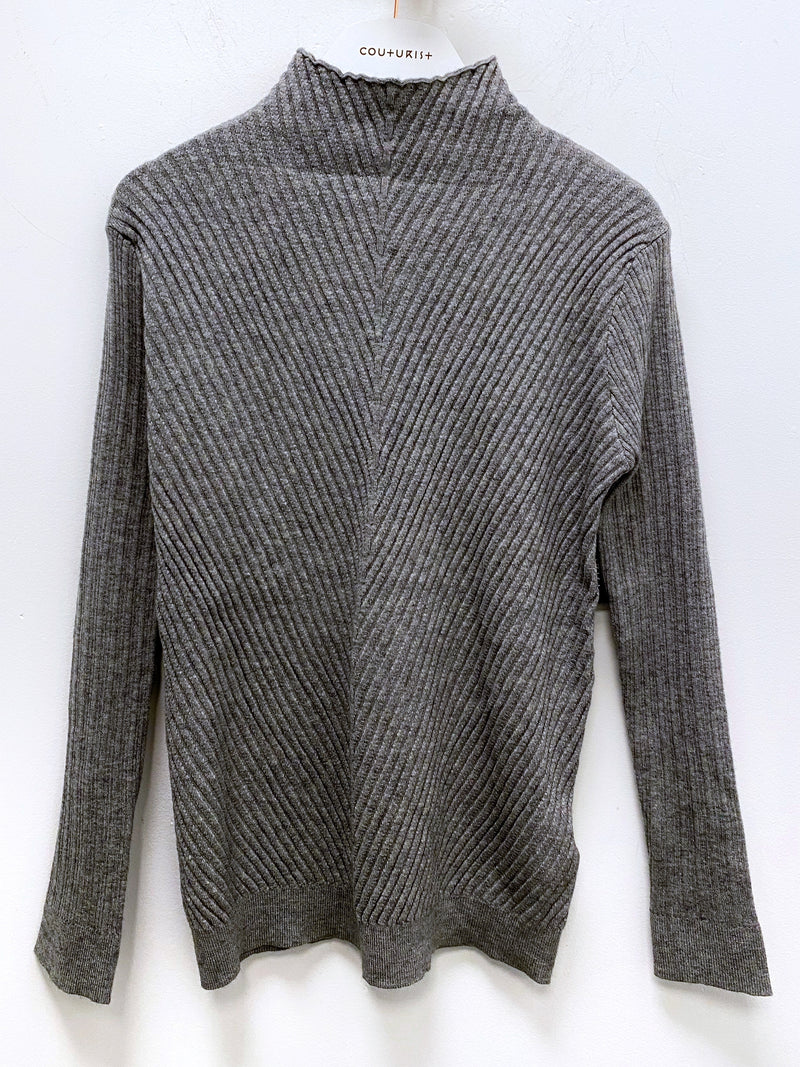 Funnel Neck Stripe Pattern Fitted Sweater