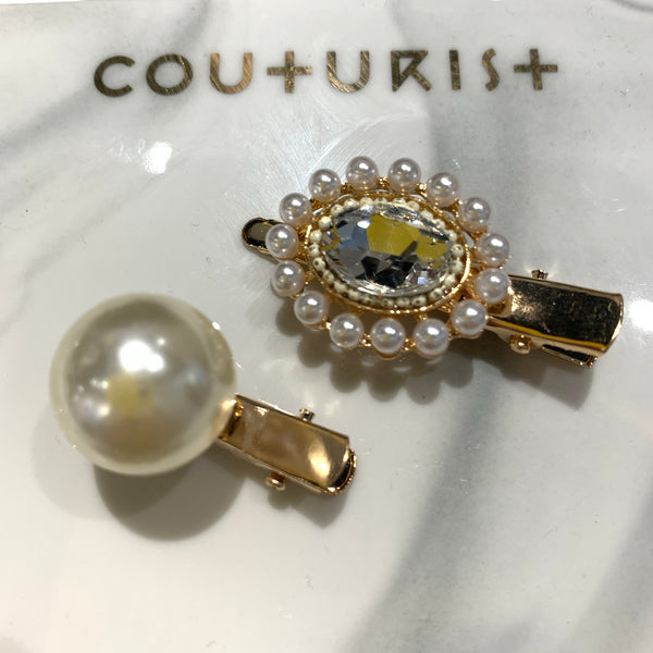 Big Single Pearl Hair Clip Set