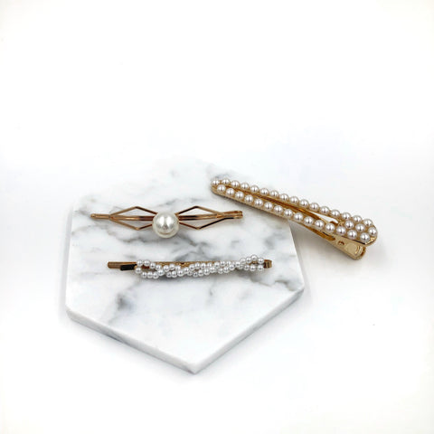 Twisted Pearl Three Hair Clip Set