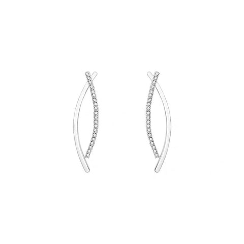 Metal and Rhinestone Curve Bars Earrings