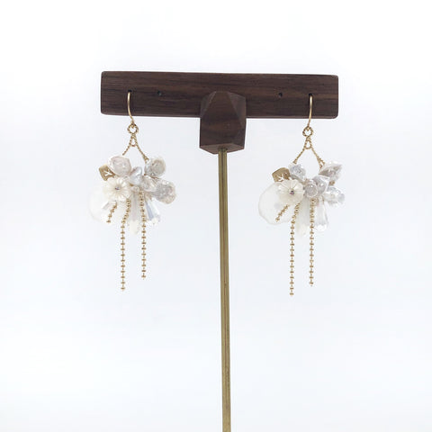 Pearl Flower and Crystal Earrings