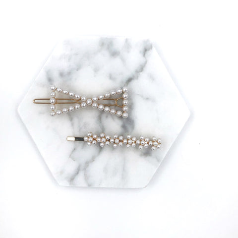 Pearl Bow and Flower Hair Clip Set