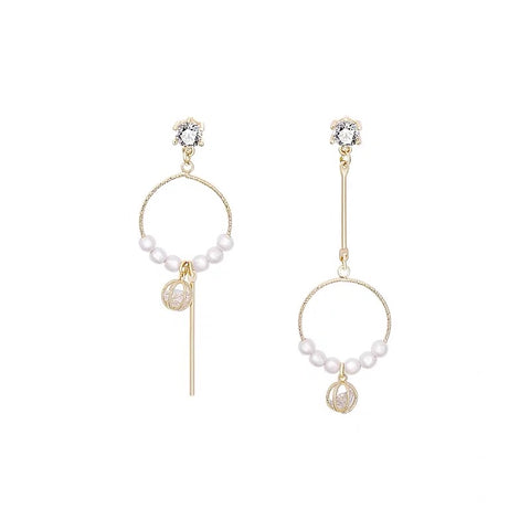 Asymmetrical Circle with Pearls Long Earrings