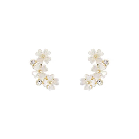 Triple Flower and Rhinestone Earrings