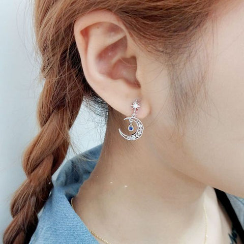 Water Drop Moon Earrings