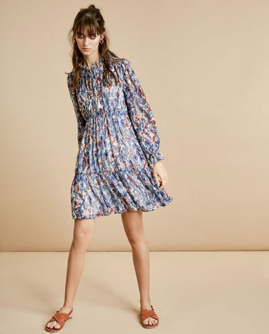 Front Tie Floral Chiffon Dress